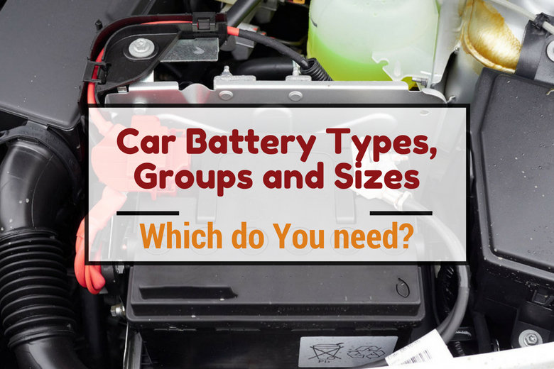 Car battery types, groups and sizes written across an image of a car battery