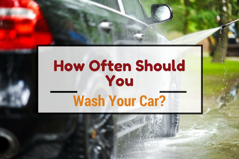 How often should wash car written across a car being power-washed