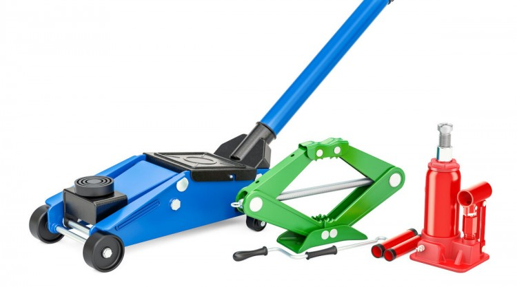 3 types of car jacks, one blue, one red, one green, and isolated on white