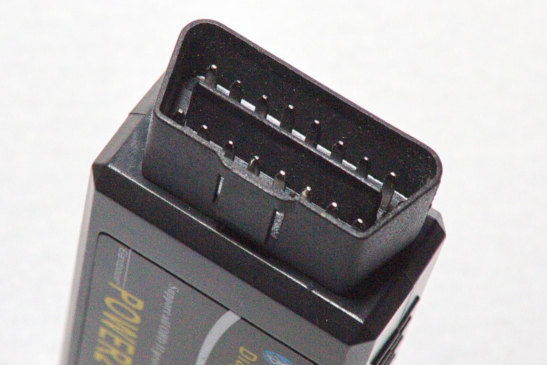 Close up of a bluetooth OBD2 scanner