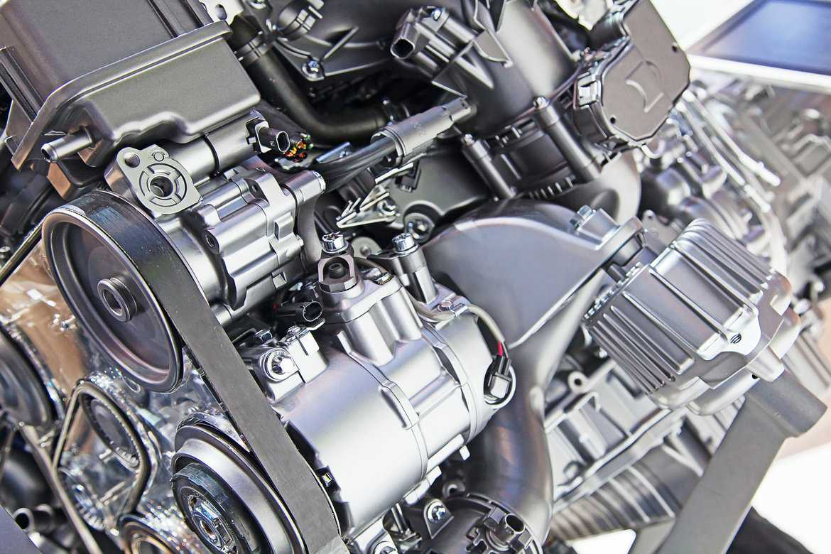 Close up of a car's engine parts