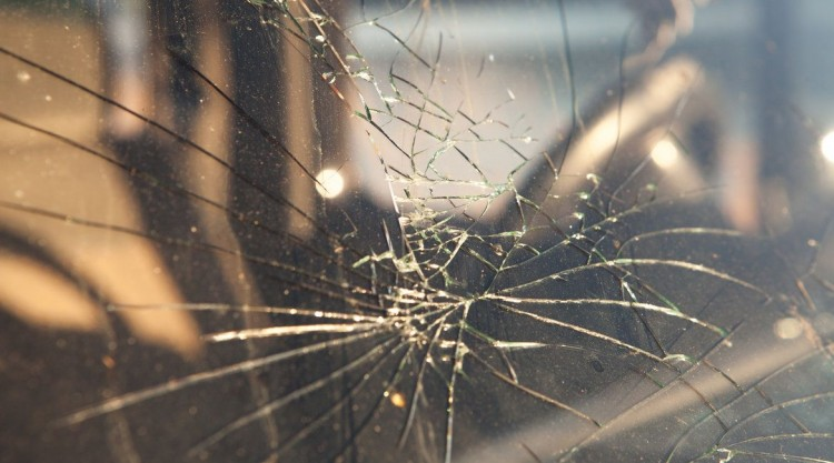 Cracked windshield from the outside