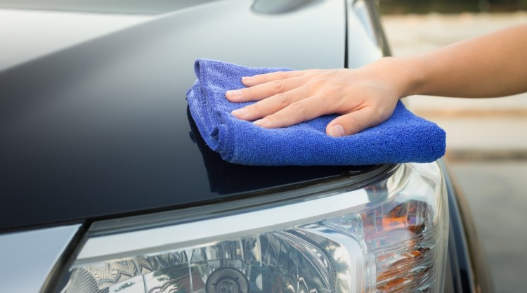 Microfiber Towel Being Used on Car