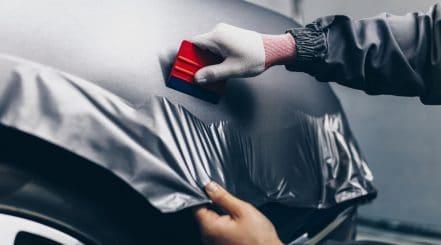 Car Getting a Wrap Job