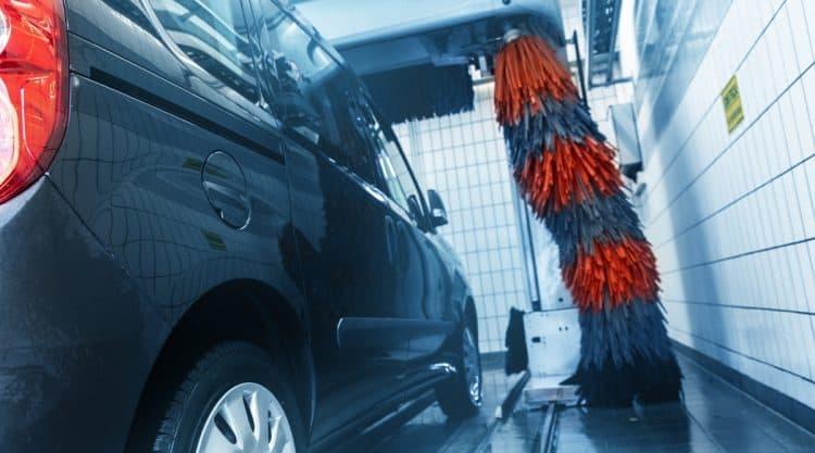 Car Going Through Gas Station Car Wash