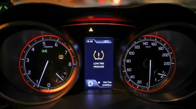 Low Tire Pressure Light on in Car