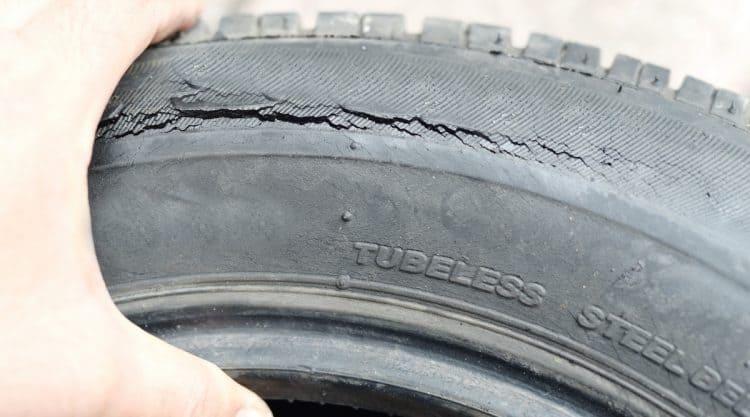 Older Cracked Car Tire