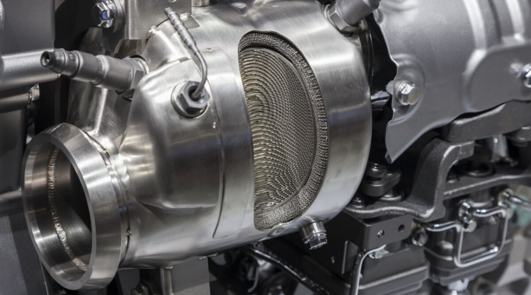 Cross section of a catalytic converter in truck engine