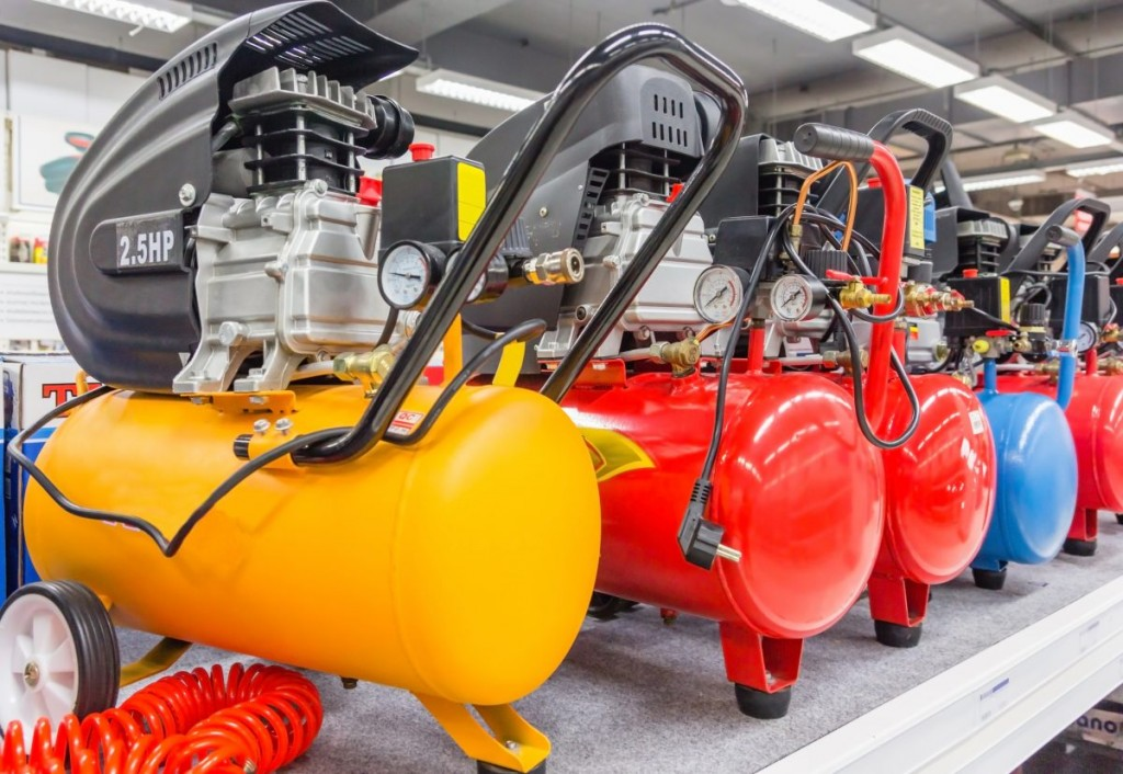 A selection of different colored air compressors