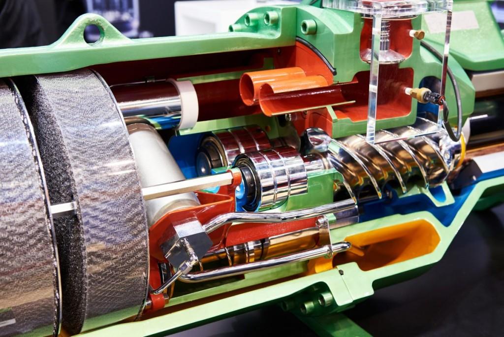 A cut away cross section of an air compressor showing it's internal mechanics