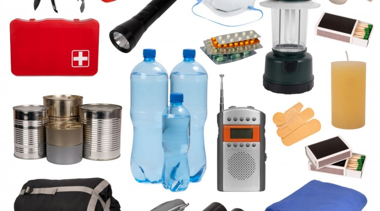A collection of things to keep in your car, isolated on white