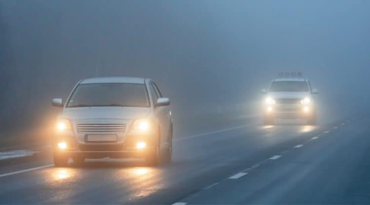 Cars Driving with Fog Lights Turned On