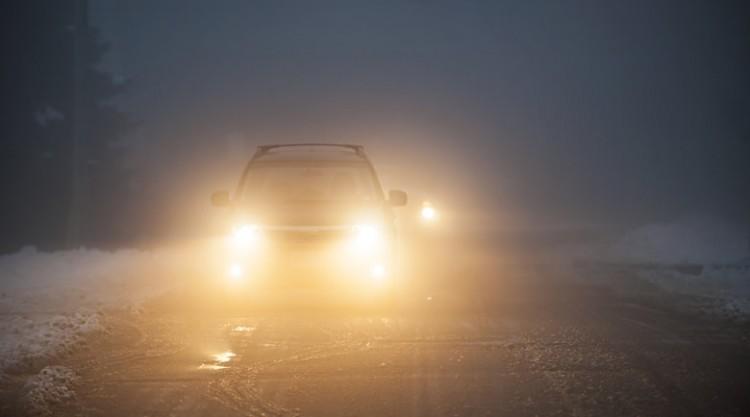 Car facing camera with fog lights on