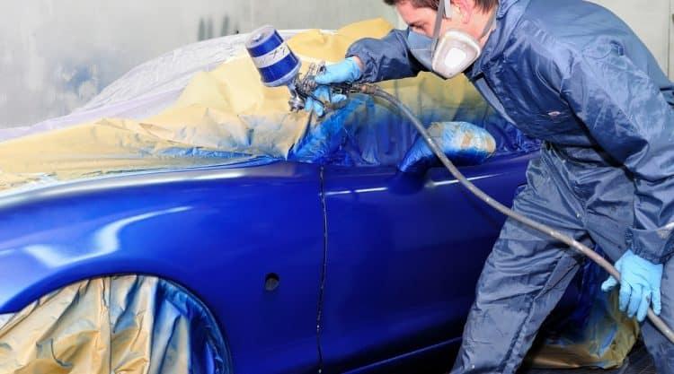 Painting Car with Spray Gun