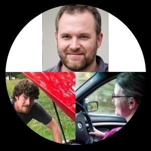 Photo montage of the 3 authors on vehiclescene.com